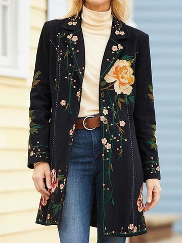Black Long Sleeve Lapel Floral Outerwear-Top-Wotoba-Black-S-Wotoba