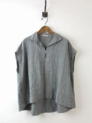 Daily Sleeveless Solid Cotton Casual Shift Buttoned Top-TOPS-Wotoba-Grey-S-Wotoba