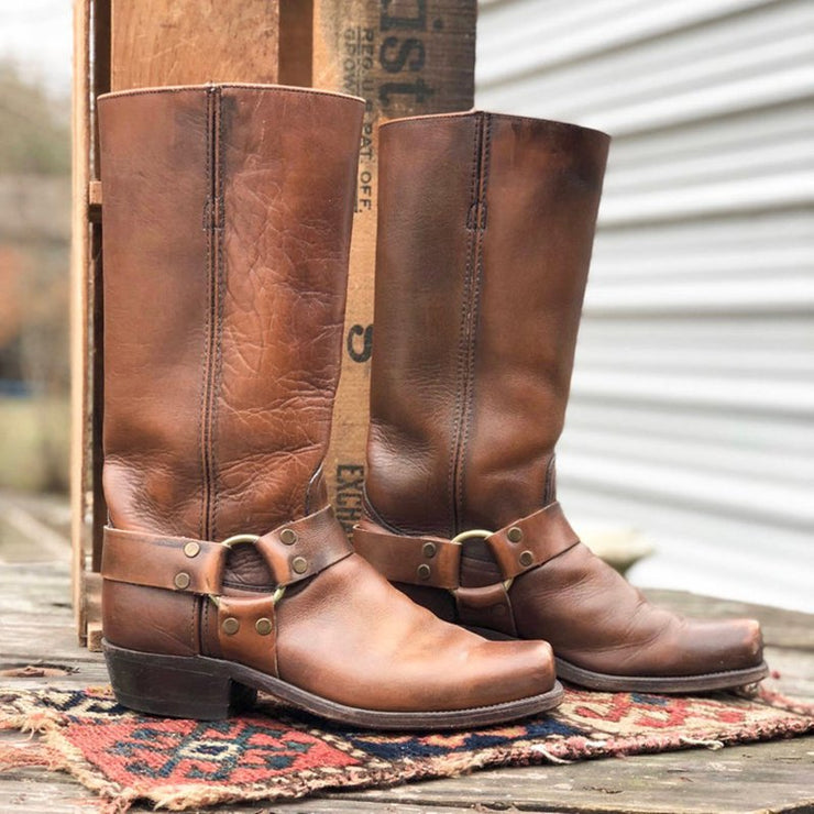 Women Boots Vintage Slip-On Mid-Calf Boots Chunky Heel Square Toe Cowboy-Shoe-Wotoba-Brown-35-Wotoba