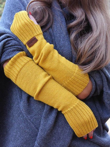 Yellow Sweet Cotton-Blend Gloves & Mittens-Accessories-Wotoba-Yellow-One-size-Wotoba