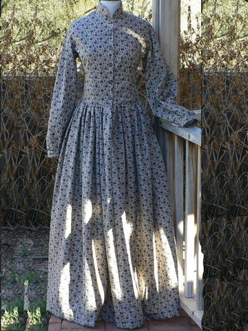 Long Sleeve Gathered Vintage Plain Dresses for Fall-dress-Wotoba-Blue-S-Wotoba