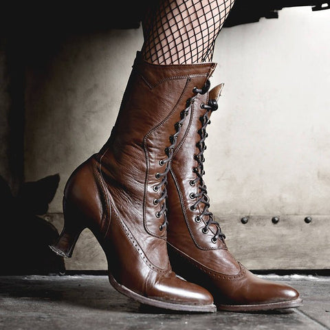 Women Boots Vintage Casual Lace-Up Low Heel Closed Toe Ruched Boots