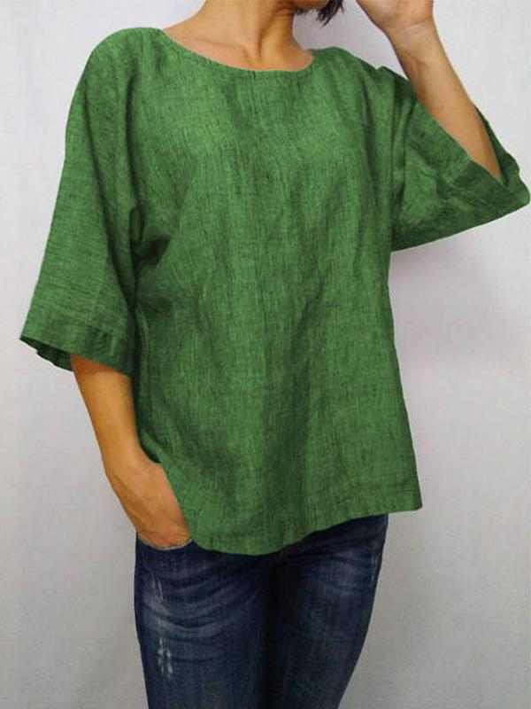 Daily 3/4 Sleeve Casual Round Neck Loose T-Shirt-TOPS-Wotoba-Green-S-Wotoba