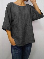 Daily 3/4 Sleeve Casual Round Neck Loose T-Shirt-TOPS-Wotoba-Black-S-Wotoba