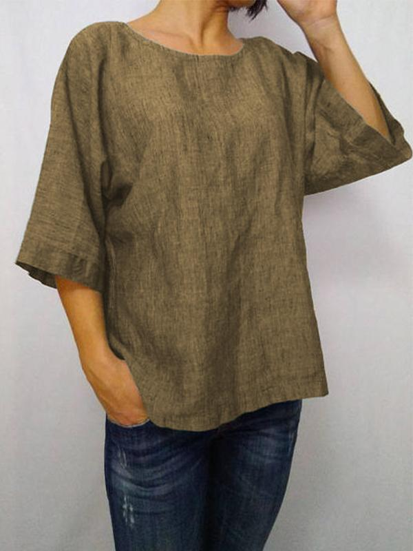 Daily 3/4 Sleeve Casual Round Neck Loose T-Shirt-TOPS-Wotoba-Khaki-S-Wotoba