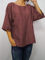 Daily 3/4 Sleeve Casual Round Neck Loose T-Shirt-TOPS-Wotoba-Red-S-Wotoba