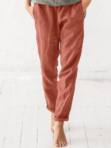 Summer Casual Cotton-blend Solid Loose Pant-Bottom-Wotoba-Rose Red-S-Wotoba
