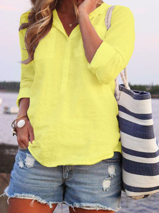 Turn-down Collar Buttoned Summer Long Sleeve Top-TOPS-Wotoba-Yellow-S-Wotoba