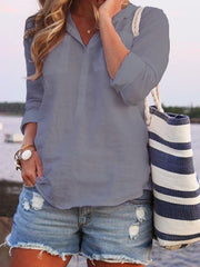 Turn-down Collar Buttoned Summer Long Sleeve Top-TOPS-Wotoba-Gray-S-Wotoba