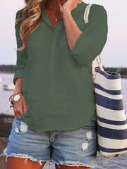 Turn-down Collar Buttoned Summer Long Sleeve Top-TOPS-Wotoba-Army Green-S-Wotoba