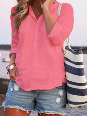 Turn-down Collar Buttoned Summer Long Sleeve Top-TOPS-Wotoba-Rose Red-S-Wotoba