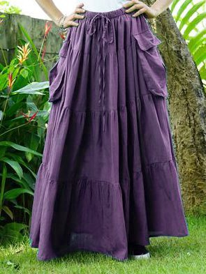 Vintage Casual Solid Cotton-Blend Plus Size Skirts-dress-Wotoba-Purple-S-Wotoba