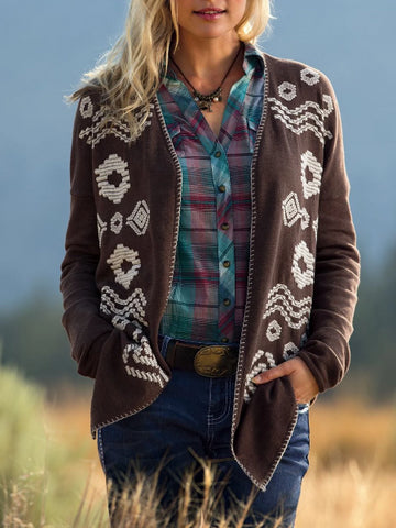 Women Cardigan Coffee Vintage Long Sleeve Plus Size Aztec