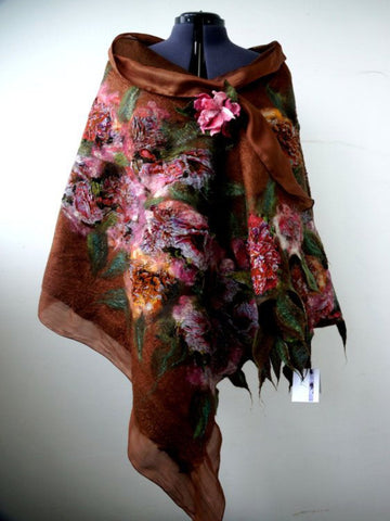 Brown Floral Color-Block Vintage Cotton-Blend Scarves & Shawls-Accessories-Wotoba-Brown-One-size-Wotoba