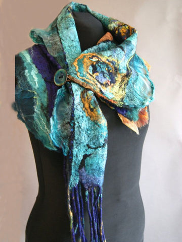 Blue Cotton-Blend Vintage Scarves & Shawls-Accessories-Wotoba-Blue-One-size-Wotoba