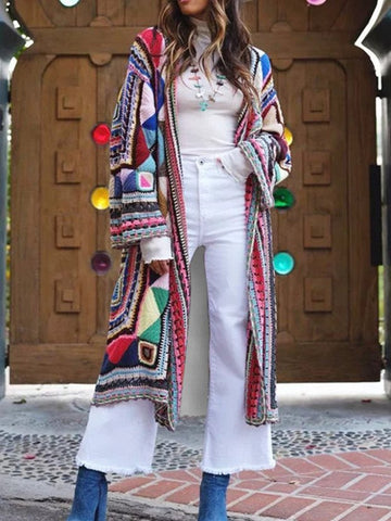 Women Blanket Coat Casual Plus Size Aztec Pattern