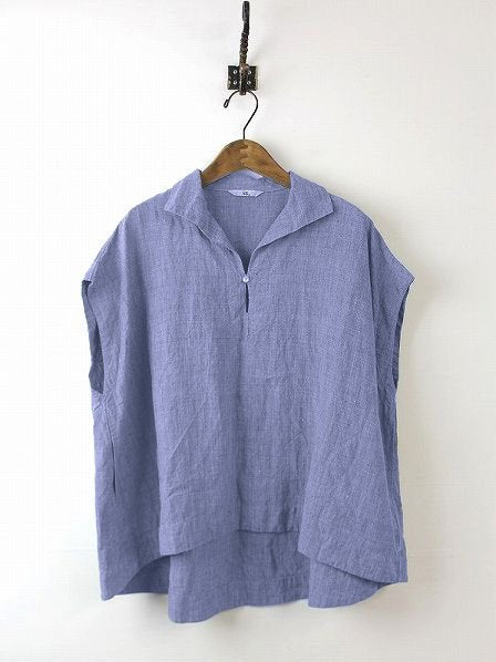 Daily Sleeveless Solid Cotton Casual Shift Buttoned Top-TOPS-Wotoba-Blue-S-Wotoba