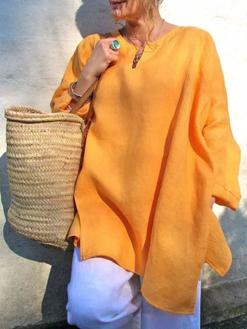 Casual Long Sleeve Plus Size V-Neck Blouse-Top-Wotoba-Orange-S-Wotoba
