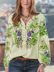 Women Boho Blouses Casual V Neck Long Sleeve Embroidery Plus Size-TOPS-SH4U5A3B-Green-S-Wotoba