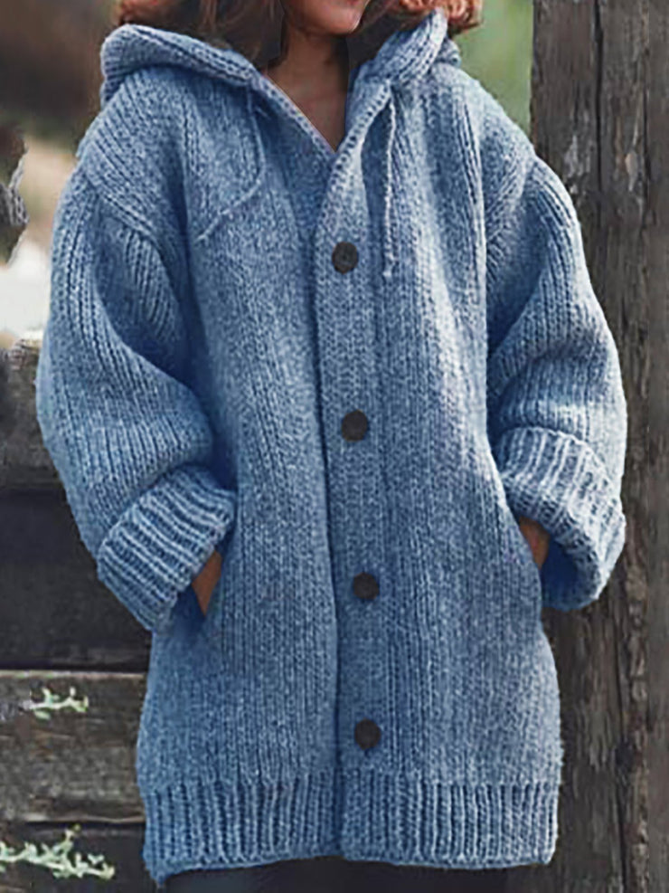Women Knitted Cardigan Casual Button Plus Size Sweatear with Hoodie Burlington Coats-TOPS-Wotoba-Blue-S-Wotoba