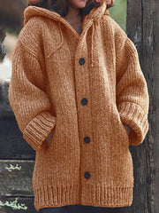 Women Knitted Cardigan Casual Button Plus Size Sweatear with Hoodie Burlington Coats-TOPS-Wotoba-Orange-S-Wotoba