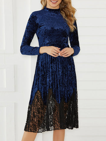 Women Dresses Casual Lace Shift Daytime Paneled Dresses-dress-Wotoba-Navy Blue-S-Wotoba