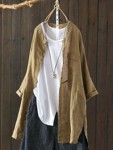 Long Sleeve Linen Shirts & Tops-Top-Wotoba-Camel-S-Wotoba