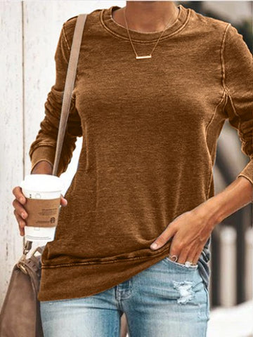 Women Casual Knitwear Round Neck Long Sleeve Cotton-Blend Tops