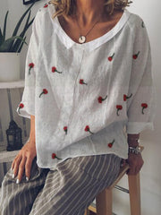Summer V-Neck Casual Long Sleeve Linen Top-TOPS-Wotoba-White-S-Wotoba
