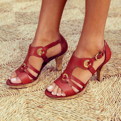 New Style Elegant Buckle Strap Sandals-Shoe-Wotoba-Red-35-Wotoba