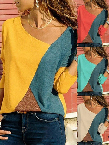 Long Sleeve Patchwork Vintage V Neck T-Shirts
