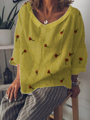 Summer V-Neck Casual Long Sleeve Linen Top-TOPS-Wotoba-Yellow-S-Wotoba