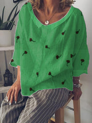 Summer V-Neck Casual Long Sleeve Linen Top-TOPS-Wotoba-Green-S-Wotoba