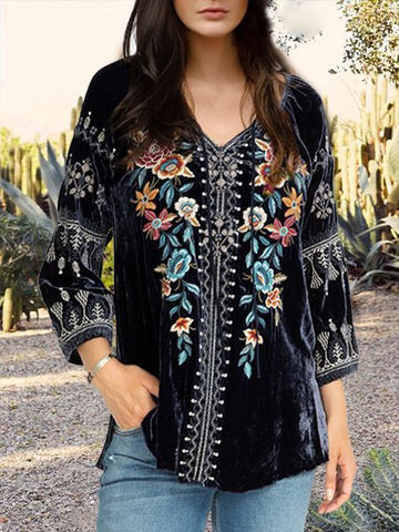 Women Boho Blouse Vintage Velvet Floral V neck Shirt Plus Size-Top-Wotoba-Black-S-Wotoba