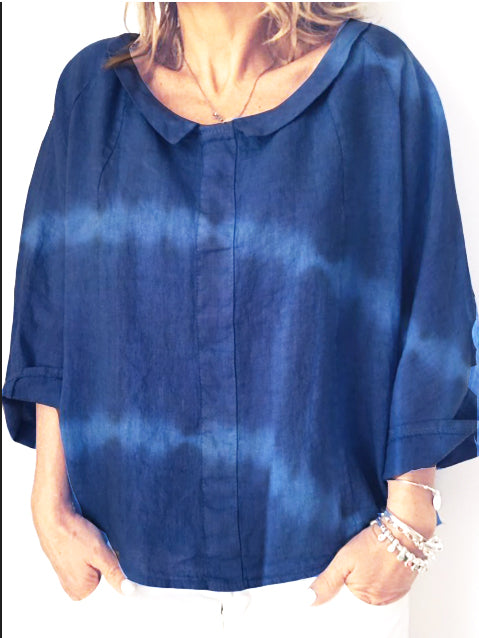 Summer 3/4 Sleeve Shirt Collar Cotton Daily Loose Top-TOPS-Wotoba-Blue-S-Wotoba