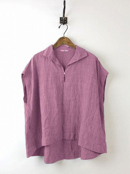 Daily Sleeveless Solid Cotton Casual Shift Buttoned Top-TOPS-Wotoba-Purple-S-Wotoba