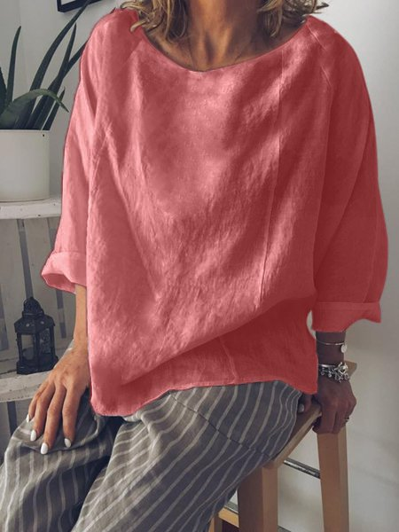 Casual Summer Long Sleeve Crew Neck Loose Blouse-TOPS-Wotoba-Red-S-Wotoba
