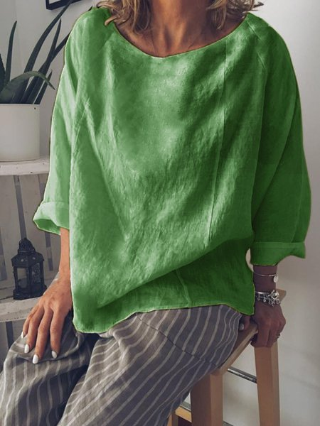 Casual Summer Long Sleeve Crew Neck Loose Blouse-TOPS-Wotoba-Green-S-Wotoba