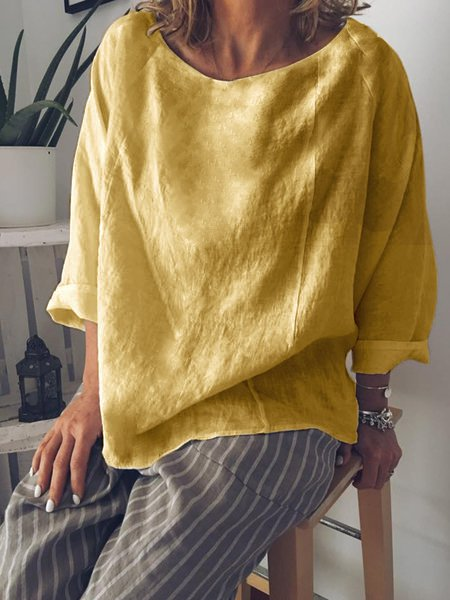 Casual Summer Long Sleeve Crew Neck Loose Blouse-TOPS-Wotoba-Yellow-S-Wotoba