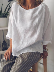 Casual Summer Long Sleeve Crew Neck Loose Blouse-TOPS-Wotoba-White-S-Wotoba
