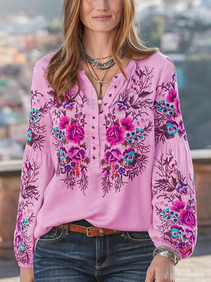 Women Boho Blouses Casual V Neck Long Sleeve Embroidery Plus Size-TOPS-SH4U5A3B-Light Purple-S-Wotoba