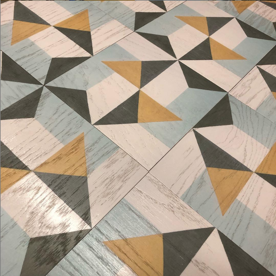 Custom Hand-Painted Wood Tile Flooring
