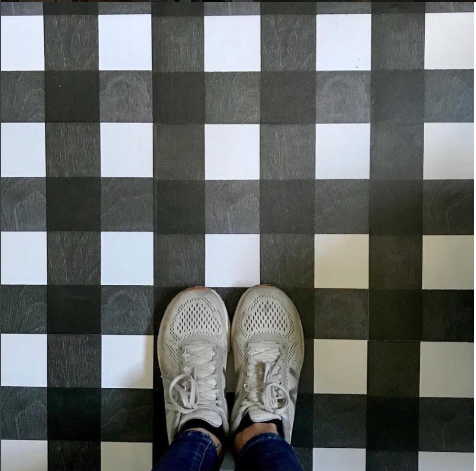 Gingham Black Hardwood Tile