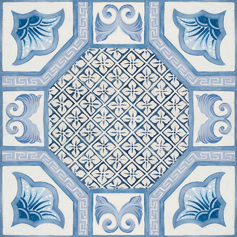 Chinoiserie Blue Hardwood Tile