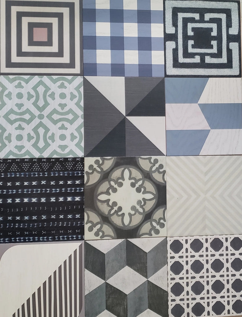Gray Silver Lining Patchwork Hardwood Tiles - Lot