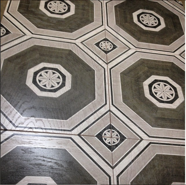 Stately Octagon Gray Hardwood Tile - Lot