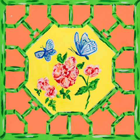 Pagoda Garden Collection Floral Butterfly 2 Hardwood Tile