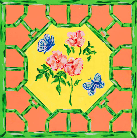 Pagoda Garden Collection Floral Butterfly Hardwood Tile