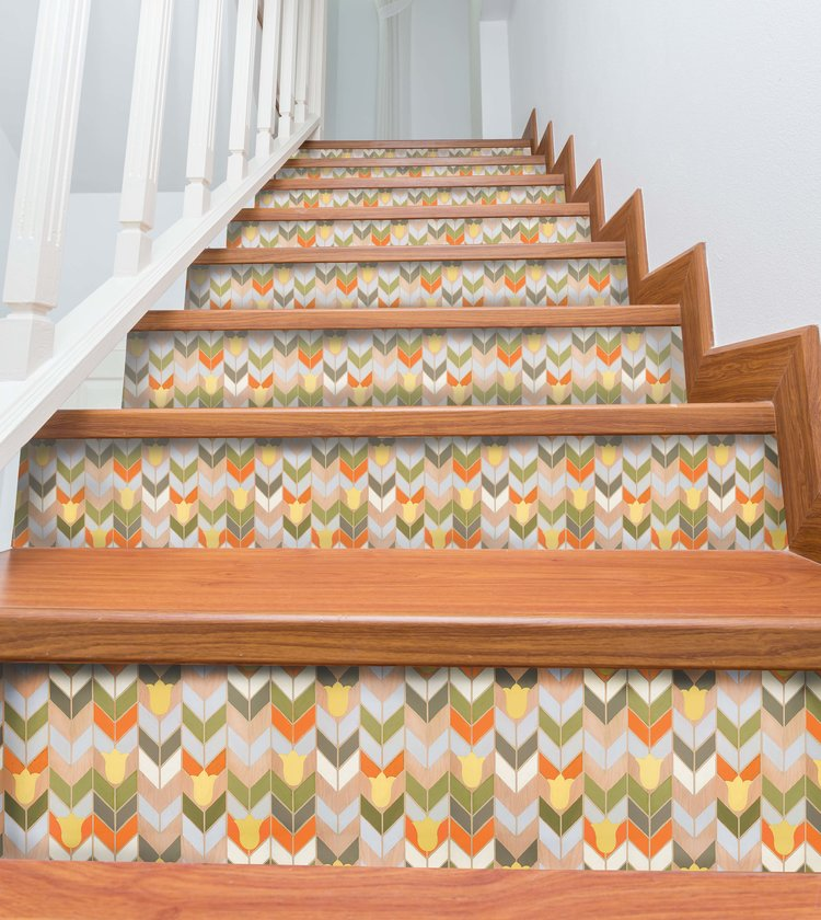Mirthful Chevron Stair Riser Decals