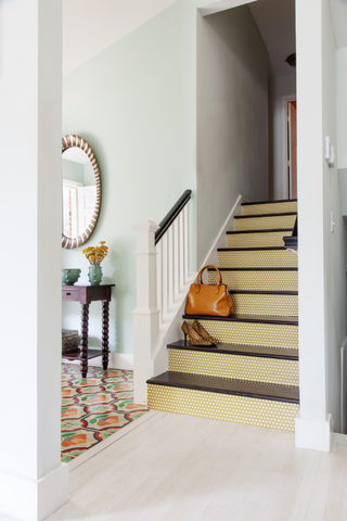 Polka Dot Mustard Stair Riser Decal